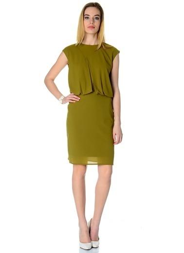 Cotton Bar Kolsuz Kısa Elbise Yeşil
